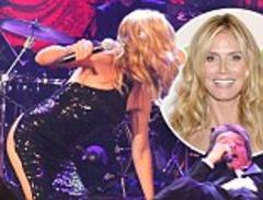 heidi klum exposes half her bottom as she appears to fall onstage at charity gala